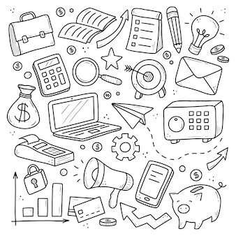Hand drawn set of business and finance elements