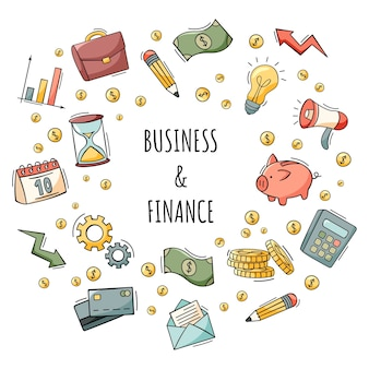 Hand drawn set of business and finance icons in doodle style