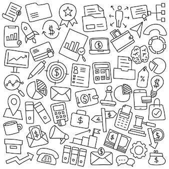 Hand drawn set of business and financial