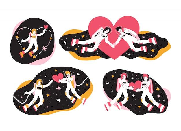 Нарисованные рукой установленные персонажи из мультфильма астронавтов в космическом пространстве. космонавты мужчина и женщина. влюбленная пара летит в космосе среди звезд и сердца. космическая любовь во вселенной. с днем святого валентина
