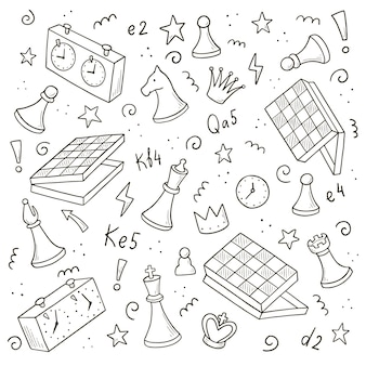 Hand drawn set of cartoon chess game elements. doodle sketch style.