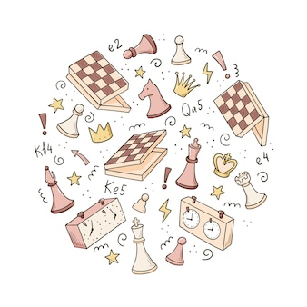Hand drawn set of cartoon chess game elements