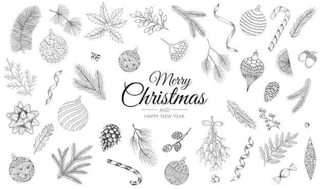 Hand drawn set of christmas decorations