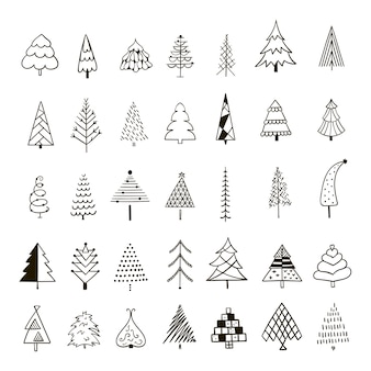 Hand drawn set of christmas trees.