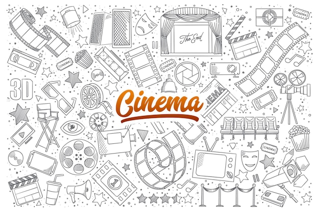 Hand drawn set of cinema doodles with orange lettering