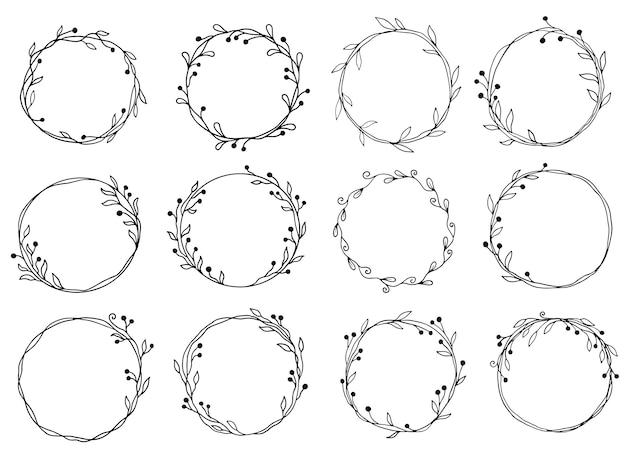 Hand drawn set of circle floral frame illustration.