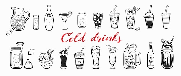 Hand drawn set of cold drinks summer cocktails and beverages