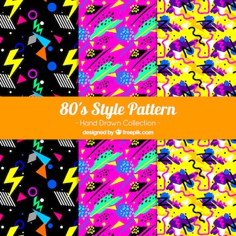 Hand-drawn set of colorful patterns with geometric shapes