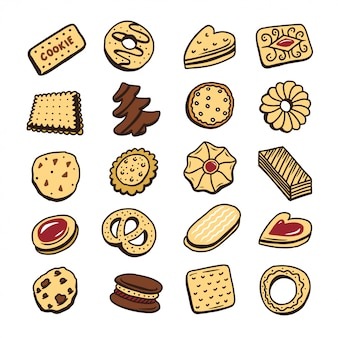 Hand drawn set of cookies biscuits desserts