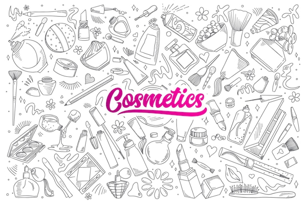 Hand drawn set of cosmetics doodles with lettering