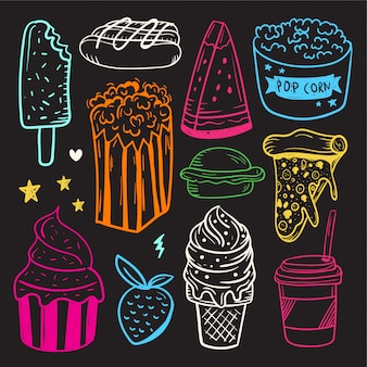 Hand drawn set of cute doodle elements . fast food, ice cream and cake