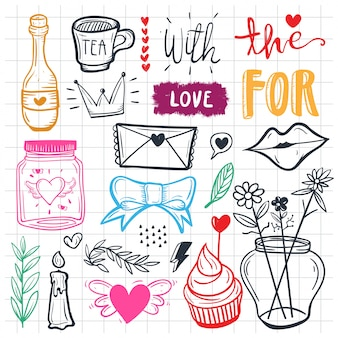 Hand drawn set of cute doodle elements