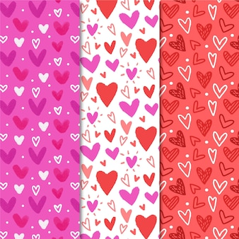 Hand drawn set of cute heart patterns