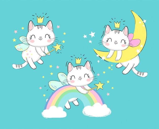 Hand drawn set cute magic cats with wings and wand. fairytale character kitten sleeps on the moon and on the rainbow.