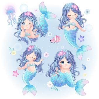 Hand drawn set of cute mermaid