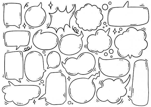 Hand drawn set of cute speech bubble in doodle style