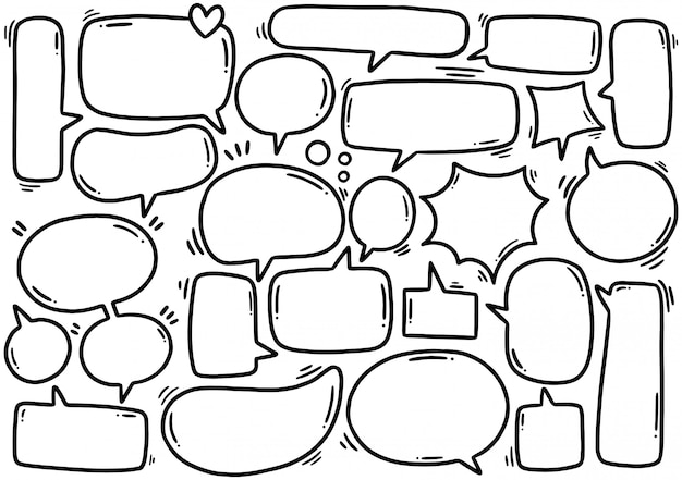Hand drawn set of cute speech bubble eith text in doodle style