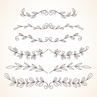 Hand drawn set of decorative frames borders page decoration elements