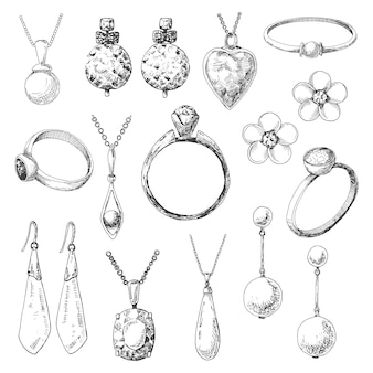 Hand drawn a set of different jewelry. of a sketch style.