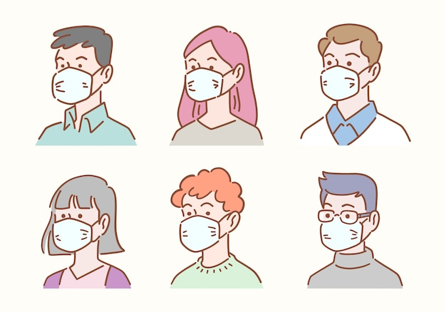 Hand drawn set of diverse people avatar wearing masks protection from disease or pollution, healthcare and hygiene concept, illustration flat design.