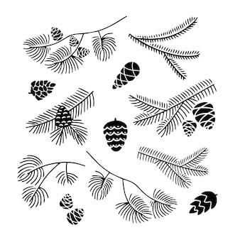 白い背景に分離された円錐形のモミの木の枝の手描きセット落書き針葉樹スケッチ