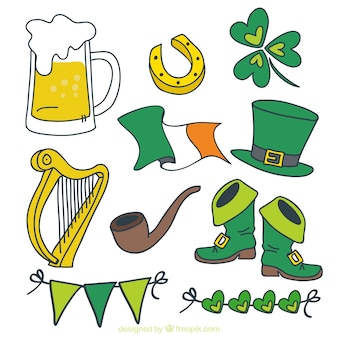 Hand-drawn set of fantastic st patrick's day objects