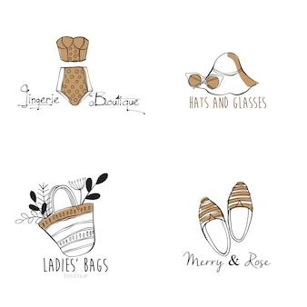 Hand drawn set of fashion logo templates
