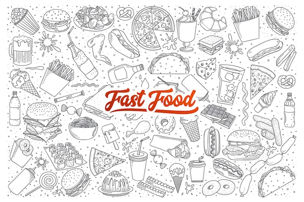 Hand drawn set of fast food doodles with lettering