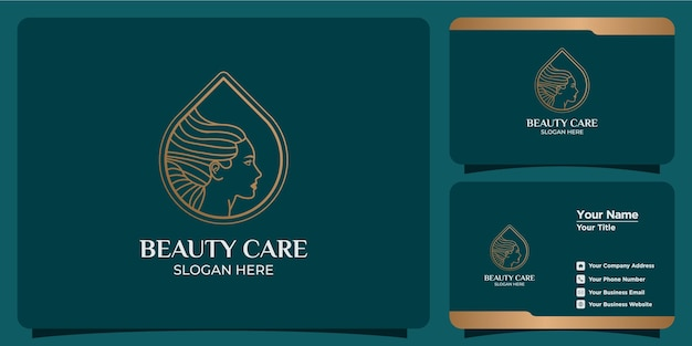 Hand drawn set of feminine logo templates for beauty and business cards