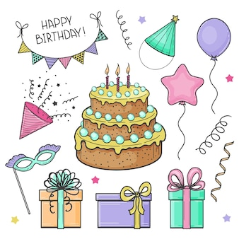 Hand drawn set of festive elements. happy birthday. cake, flags, mask, balloon, gift box. sketch. vector illustration.