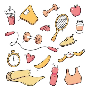 Hand drawn set of fitness, gym equipments, activity lifestyle concept. doodle sketch style. sport element drawn by digital brush-pen. illustration for icon, frame, background.