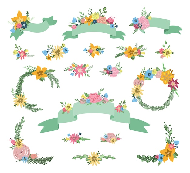 Hand drawn set of floral ribbon banners and wreathes with bouquets of spring flowers, leaves and branches isolated