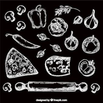 Hand drawn set of food in chalkboard style