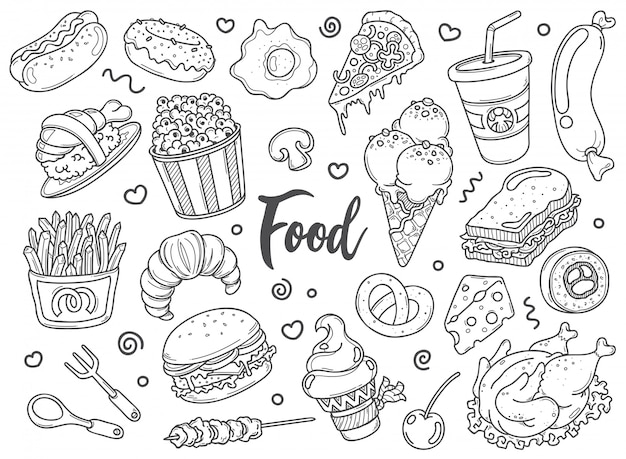 Hand drawn set of food doodles in vector