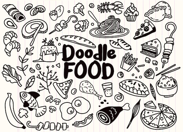 Hand drawn set of food ingredient doodles with lettering in vector