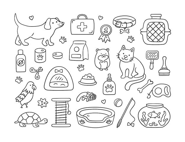 애완 동물 가게와 동물 병원을 위한 손으로 그린 세트. 애완 동물, 음식, 장난감 및 미용 액세서리