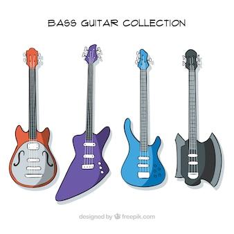 Hand-drawn set of four bass guitars