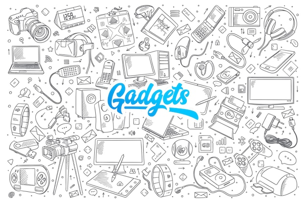 Hand drawn set of gadgets doodles with blue lettering