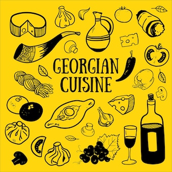 Hand drawn set of georgian cuisine with khinkali khachapuri pkhali cheese wine