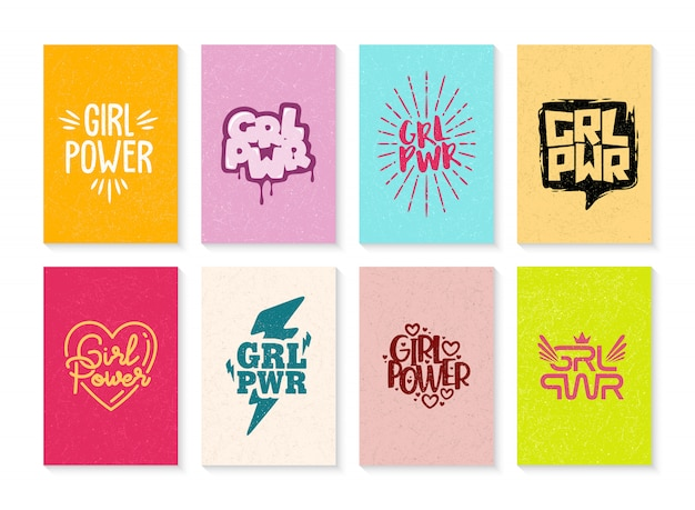 Hand drawn set of girl power illustration