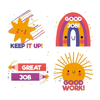 Hand drawn set of great job stickers