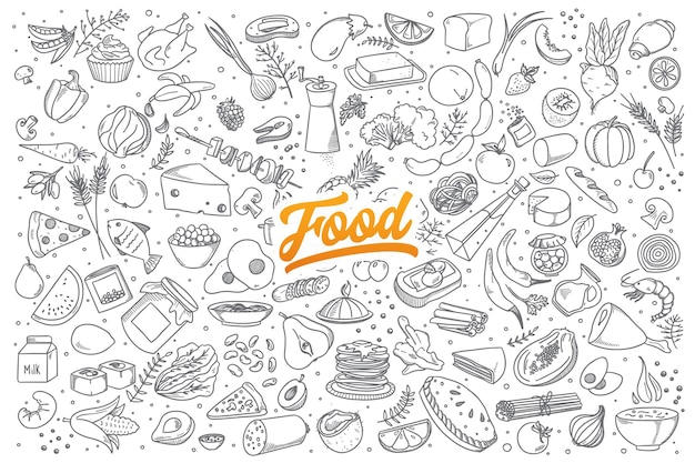 Hand drawn set of healthy food ingredient doodles with lettering