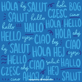 Hand drawn set of hello word pattern in different languages