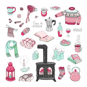 Hand-drawn set of hygge doodles.