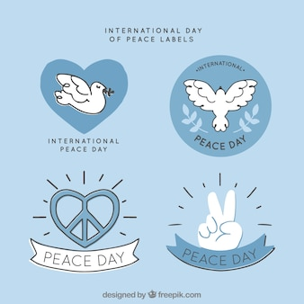 Hand drawn set of labels for peace day
