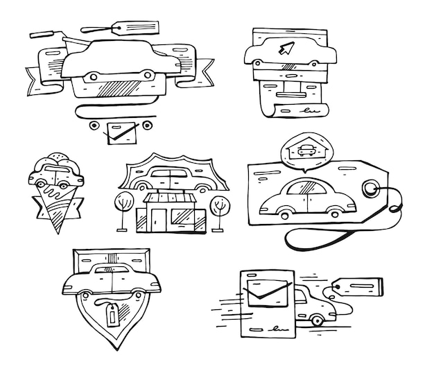 Hand drawn  set of  lined car logo elements, emblems and icons.