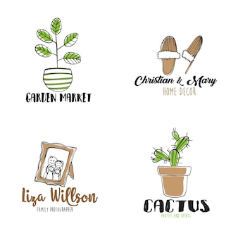 Hand drawn set of logos with cozy home elements
