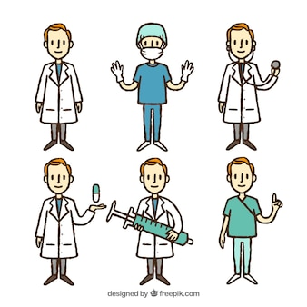 Hand drawn set of male doctors