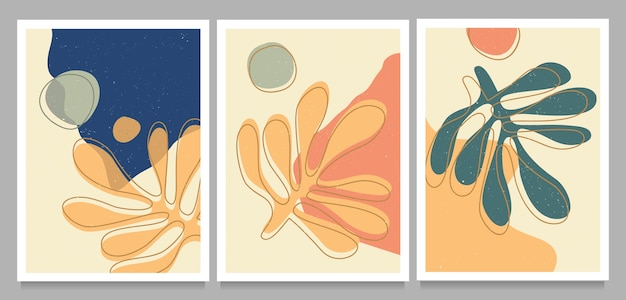 Hand drawn set of matisse cutouts posters with textured abstract organic shapes.