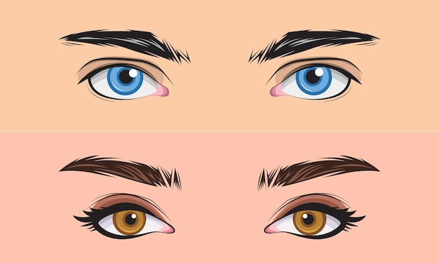Hand drawn set men and girl close up eyes area vector illustration